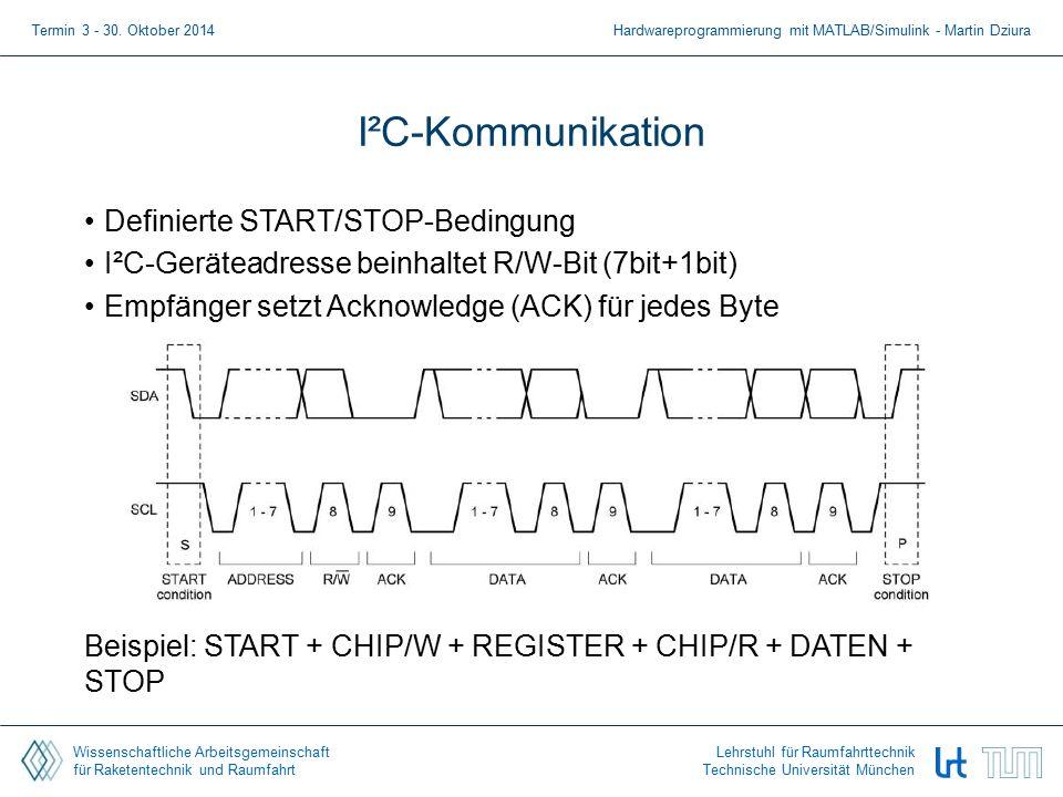 Wissenschaftliche Arbeitsgemeinschaft für Raketentechnik und Raumfahrt Lehrstuhl für Raumfahrttechnik Technische Universität München I²C-Kommunikation Definierte START/STOP-Bedingung I²C-Geräteadresse beinhaltet R/W-Bit (7bit+1bit) Empfänger setzt Acknowledge (ACK) für jedes Byte Beispiel: START + CHIP/W + REGISTER + CHIP/R + DATEN + STOP Termin 3 - 30.