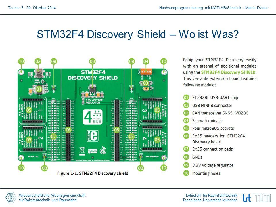 Wissenschaftliche Arbeitsgemeinschaft für Raketentechnik und Raumfahrt Lehrstuhl für Raumfahrttechnik Technische Universität München STM32F4 Discovery Shield – Wo ist Was.