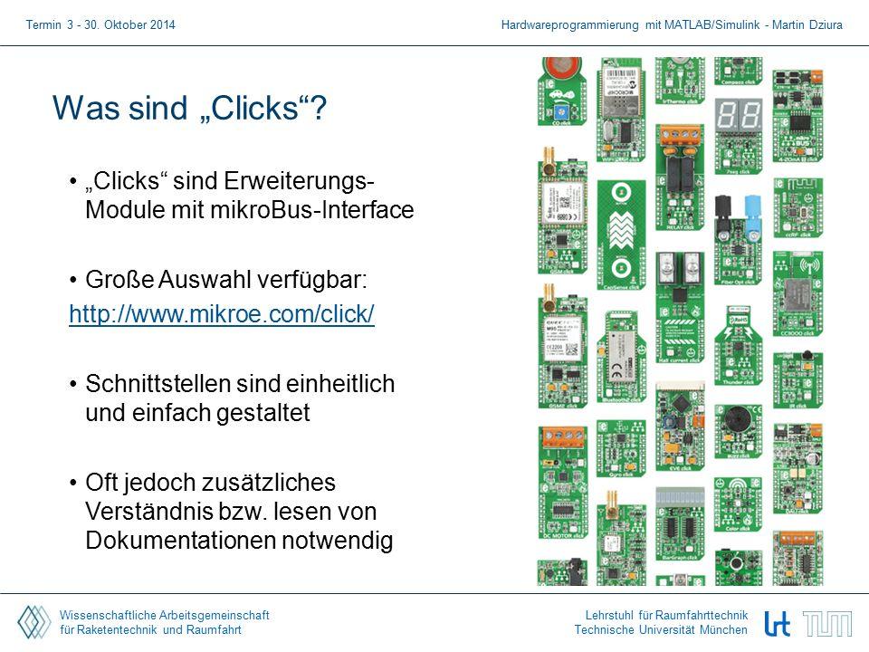 """Wissenschaftliche Arbeitsgemeinschaft für Raketentechnik und Raumfahrt Lehrstuhl für Raumfahrttechnik Technische Universität München Was sind """"Clicks ."""