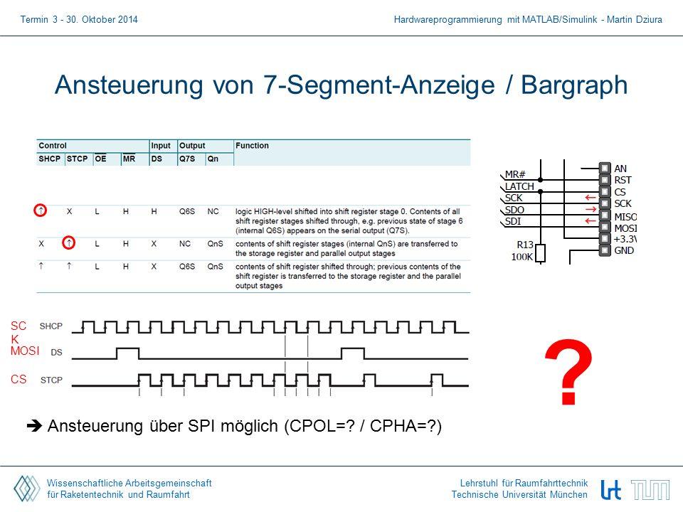 Wissenschaftliche Arbeitsgemeinschaft für Raketentechnik und Raumfahrt Lehrstuhl für Raumfahrttechnik Technische Universität München Ansteuerung von 7-Segment-Anzeige / Bargraph Termin 3 - 30.