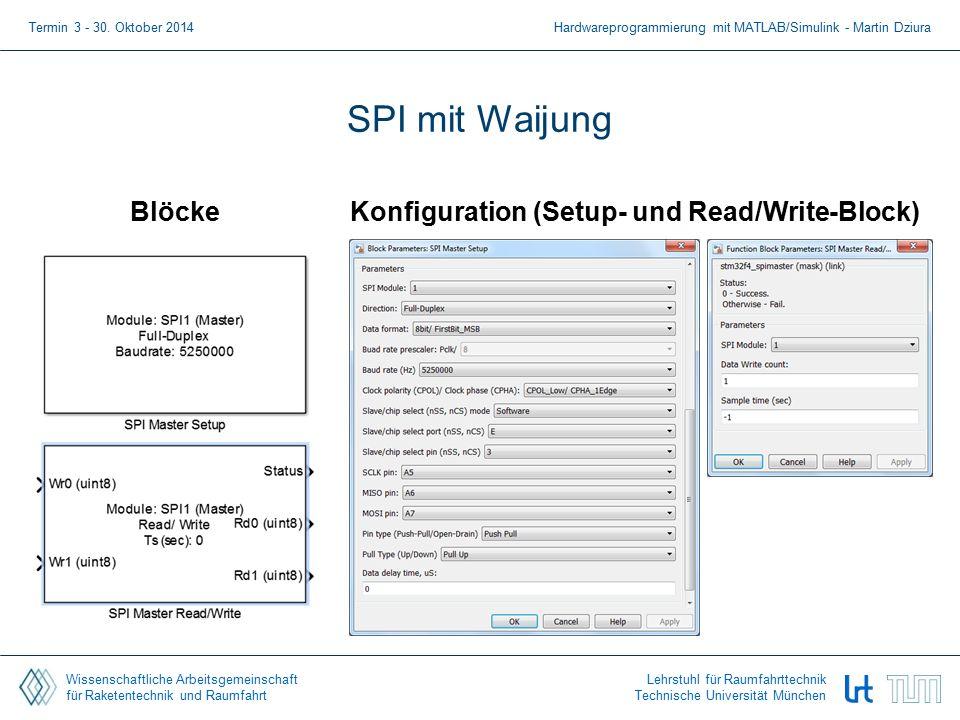 Wissenschaftliche Arbeitsgemeinschaft für Raketentechnik und Raumfahrt Lehrstuhl für Raumfahrttechnik Technische Universität München SPI mit Waijung BlöckeKonfiguration (Setup- und Read/Write-Block) Termin 3 - 30.
