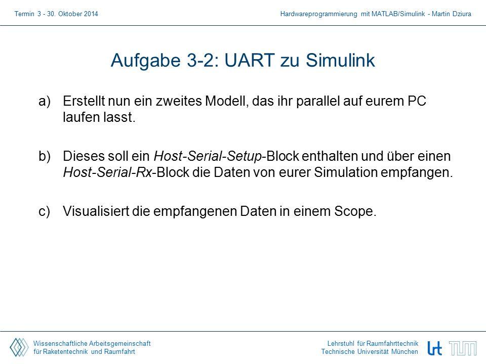 Wissenschaftliche Arbeitsgemeinschaft für Raketentechnik und Raumfahrt Lehrstuhl für Raumfahrttechnik Technische Universität München Aufgabe 3-2: UART zu Simulink a)Erstellt nun ein zweites Modell, das ihr parallel auf eurem PC laufen lasst.