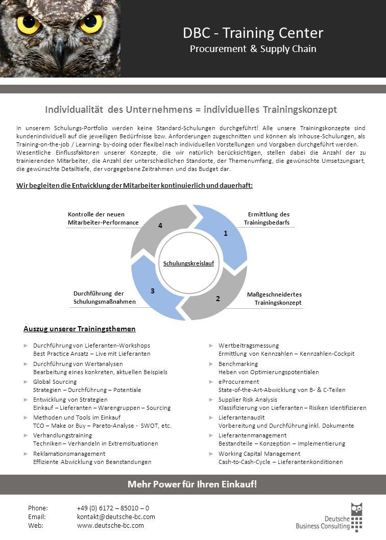 DBC - Training Center Procurement & Supply Chain Durchführung der Schulungsmaßnahmen Kontrolle der neuen Mitarbeiter-Performance Ermittlung des Traini