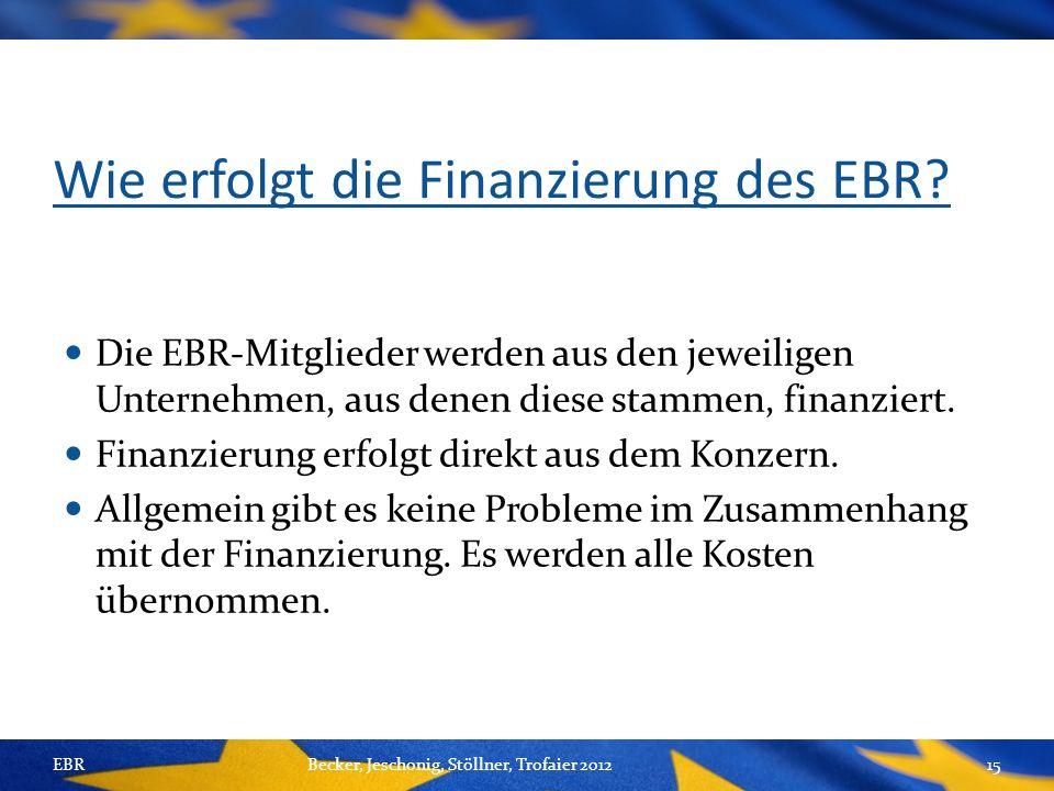Wie erfolgt die Finanzierung des EBR.