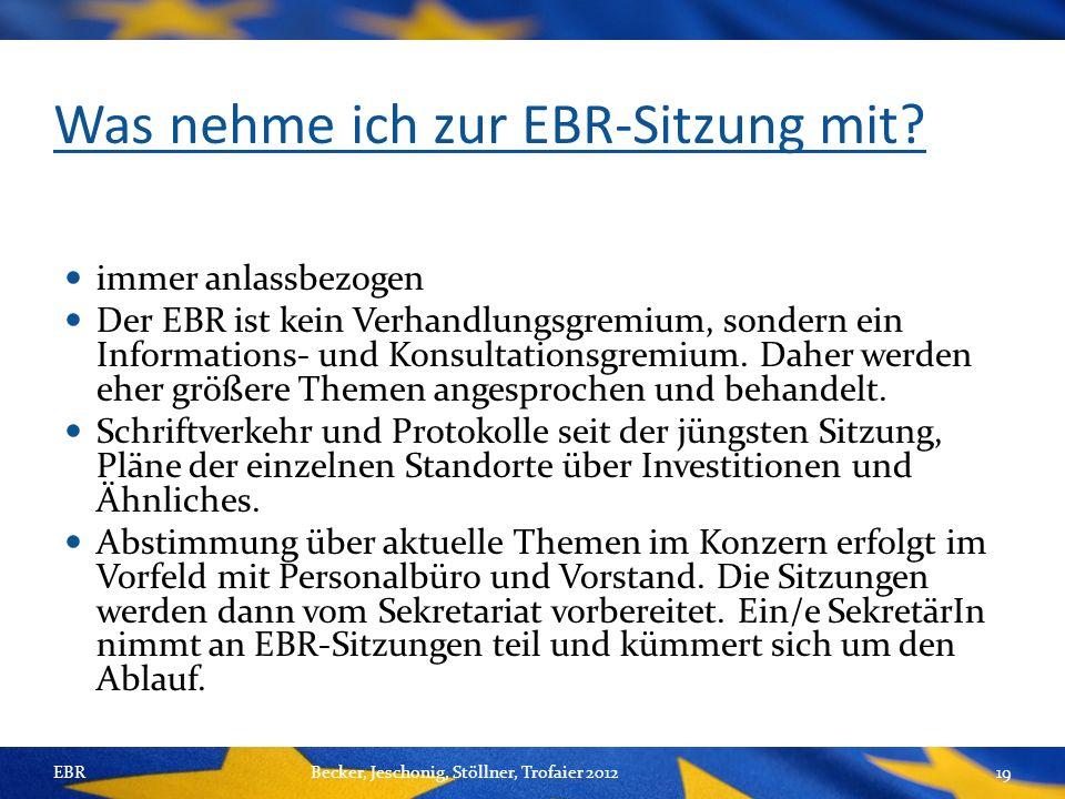 Was nehme ich zur EBR-Sitzung mit.