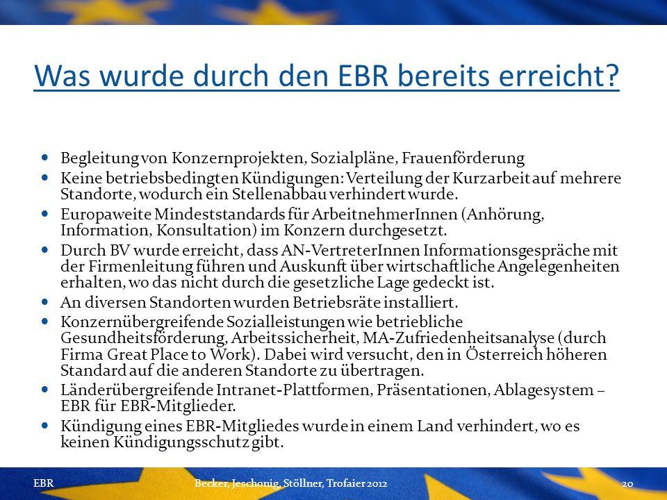 Was wurde durch den EBR bereits erreicht.