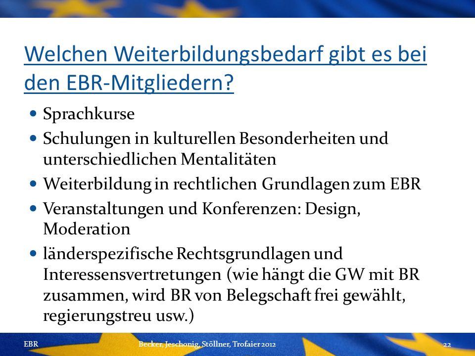 Welchen Weiterbildungsbedarf gibt es bei den EBR-Mitgliedern.