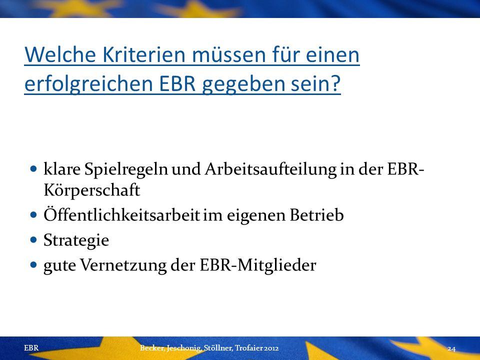 Welche Kriterien müssen für einen erfolgreichen EBR gegeben sein.