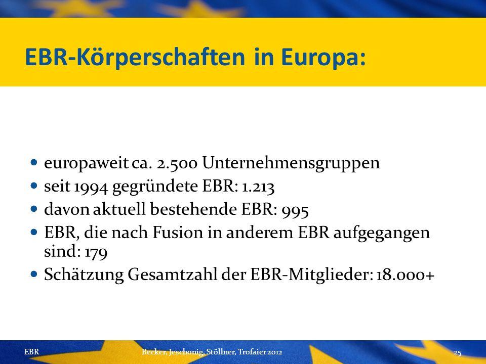 EBR-Körperschaften in Europa: europaweit ca.