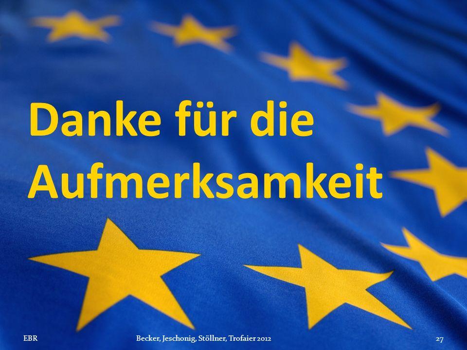 Danke für die Aufmerksamkeit EBRBecker, Jeschonig, Stöllner, Trofaier 201227