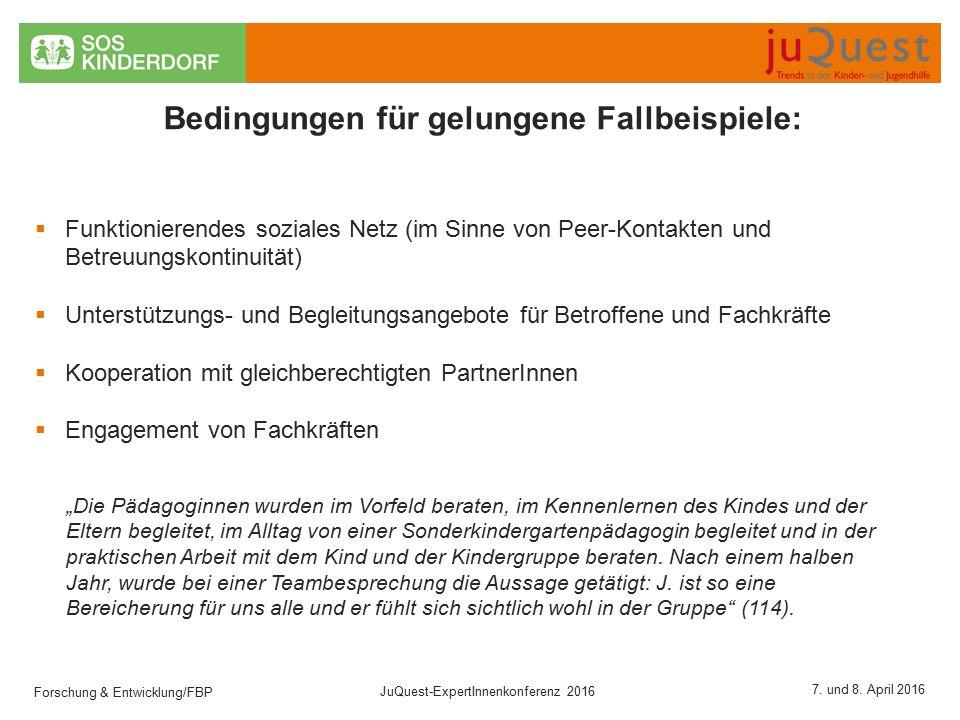 Forschung & Entwicklung/FBP JuQuest-ExpertInnenkonferenz 2016 7.