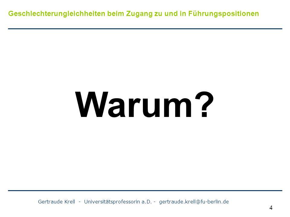 Gertraude Krell - Universitätsprofessorin a.D. - gertraude.krell@fu-berlin.de 4 Warum? Geschlechterungleichheiten beim Zugang zu und in Führungspositi
