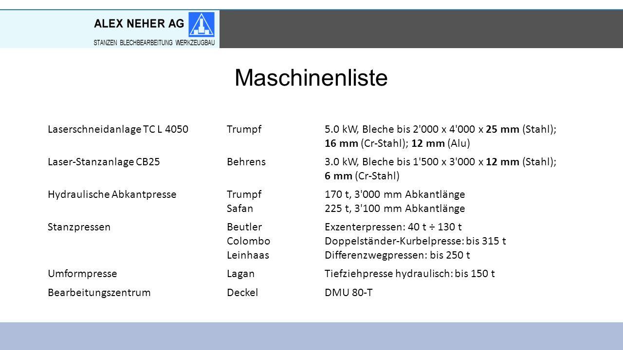 Maschinenliste Laserschneidanlage TC L 4050Trumpf5.0 kW, Bleche bis 2 000 x 4 000 x 25 mm (Stahl); 16 mm (Cr-Stahl); 12 mm (Alu) Laser-Stanzanlage CB25Behrens3.0 kW, Bleche bis 1 500 x 3 000 x 12 mm (Stahl); 6 mm (Cr-Stahl) Hydraulische AbkantpresseTrumpf Safan 170 t, 3 000 mm Abkantlänge 225 t, 3 100 mm Abkantlänge StanzpressenBeutler Colombo Leinhaas Exzenterpressen: 40 t ÷ 130 t Doppelständer-Kurbelpresse: bis 315 t Differenzwegpressen: bis 250 t UmformpresseLaganTiefziehpresse hydraulisch: bis 150 t BearbeitungszentrumDeckelDMU 80-T