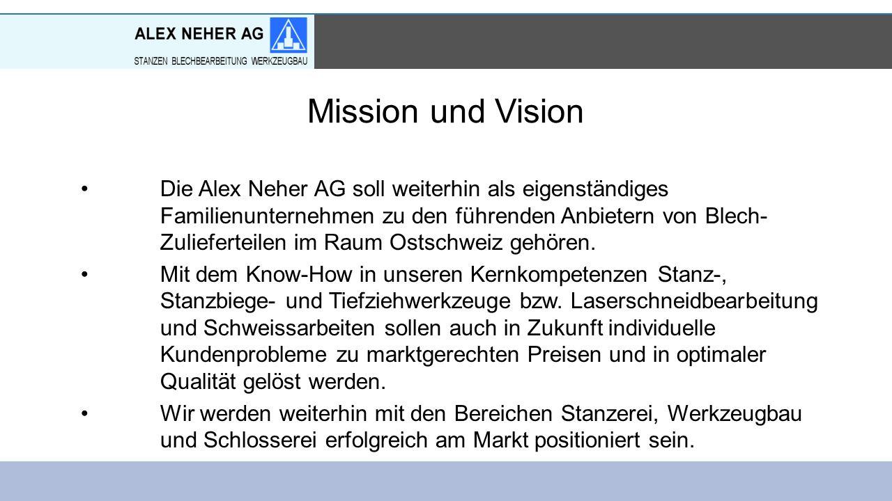 Mission und Vision Die Alex Neher AG soll weiterhin als eigenständiges Familienunternehmen zu den führenden Anbietern von Blech- Zulieferteilen im Raum Ostschweiz gehören.