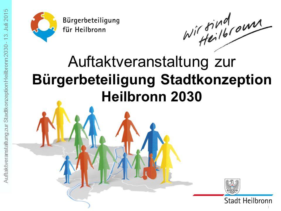 Auftaktveranstaltung zur Stadtkonzeption Heilbronn 2030 - 13. Juli 2015 Folie 1 Auftaktveranstaltung zur Bürgerbeteiligung Stadtkonzeption Heilbronn 2