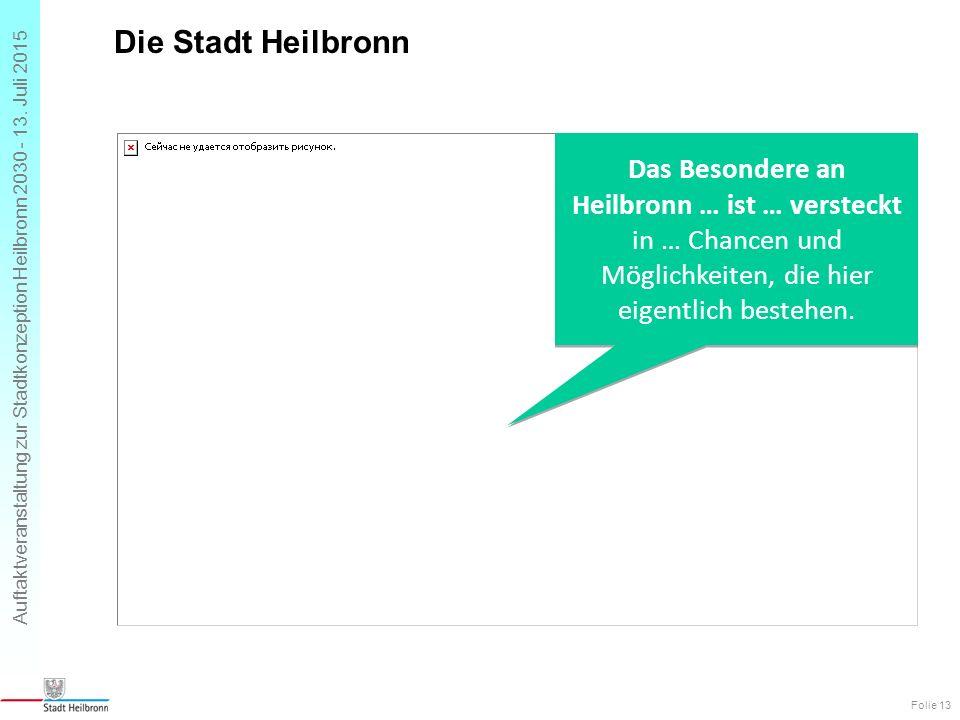 Auftaktveranstaltung zur Stadtkonzeption Heilbronn 2030 - 13. Juli 2015 Die Stadt Heilbronn Folie 13 Das Besondere an Heilbronn … ist … versteckt in …