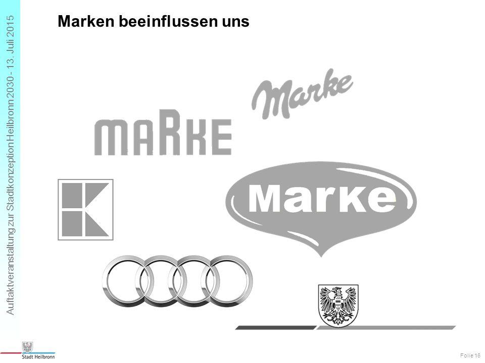 Auftaktveranstaltung zur Stadtkonzeption Heilbronn 2030 - 13. Juli 2015 Marken beeinflussen uns Folie 16