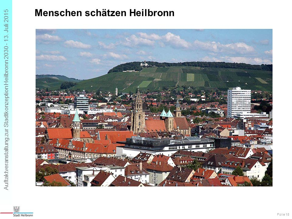 Auftaktveranstaltung zur Stadtkonzeption Heilbronn 2030 - 13. Juli 2015 Menschen schätzen Heilbronn Folie 18