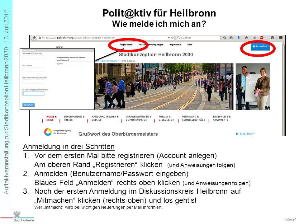 Auftaktveranstaltung zur Stadtkonzeption Heilbronn 2030 - 13. Juli 2015 Polit@ktiv für Heilbronn Wie melde ich mich an? Folie 24 Anmeldung in drei Sch