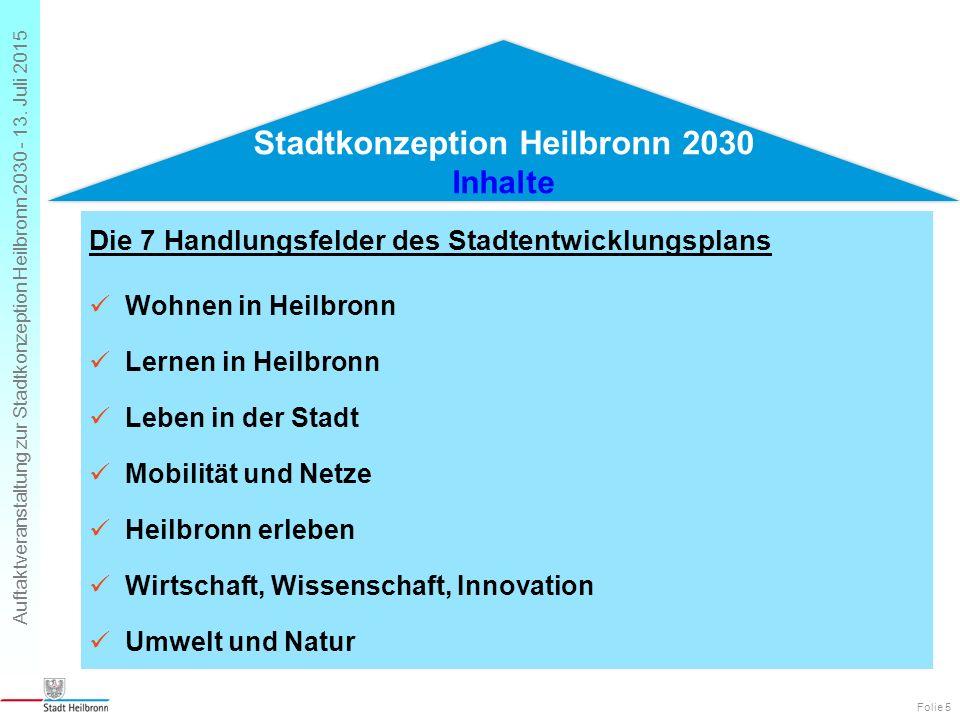 Auftaktveranstaltung zur Stadtkonzeption Heilbronn 2030 - 13. Juli 2015 Folie 5 Die 7 Handlungsfelder des Stadtentwicklungsplans Wohnen in Heilbronn L