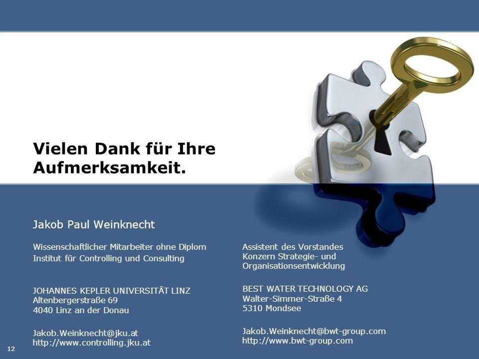 Vielen Dank für Ihre Aufmerksamkeit. Jakob Paul Weinknecht 29.05.2016 12 Wissenschaftlicher Mitarbeiter ohne Diplom Institut für Controlling und Consu