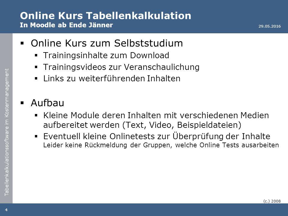Tabellenkalkulationssoftware im Kostenmanagement Online Kurs Tabellenkalkulation In Moodle ab Ende Jänner  Online Kurs zum Selbststudium  Trainingsi