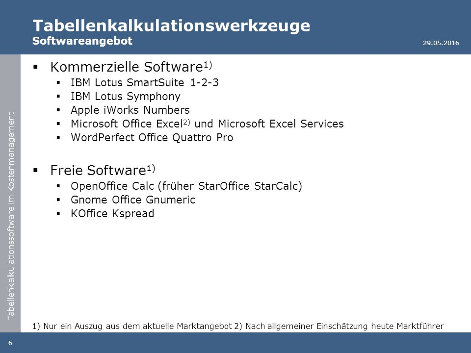 Tabellenkalkulationssoftware im Kostenmanagement Tabellenkalkulationswerkzeuge Softwareangebot  Kommerzielle Software 1)  IBM Lotus SmartSuite 1-2-3  IBM Lotus Symphony  Apple iWorks Numbers  Microsoft Office Excel 2) und Microsoft Excel Services  WordPerfect Office Quattro Pro  Freie Software 1)  OpenOffice Calc (früher StarOffice StarCalc)  Gnome Office Gnumeric  KOffice Kspread 29.05.2016 6 1) Nur ein Auszug aus dem aktuelle Marktangebot 2) Nach allgemeiner Einschätzung heute Marktführer