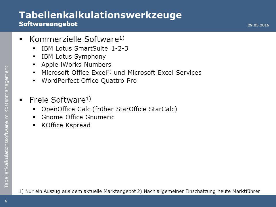 Tabellenkalkulationssoftware im Kostenmanagement Tabellenkalkulationswerkzeuge Softwareangebot  Kommerzielle Software 1)  IBM Lotus SmartSuite 1-2-3