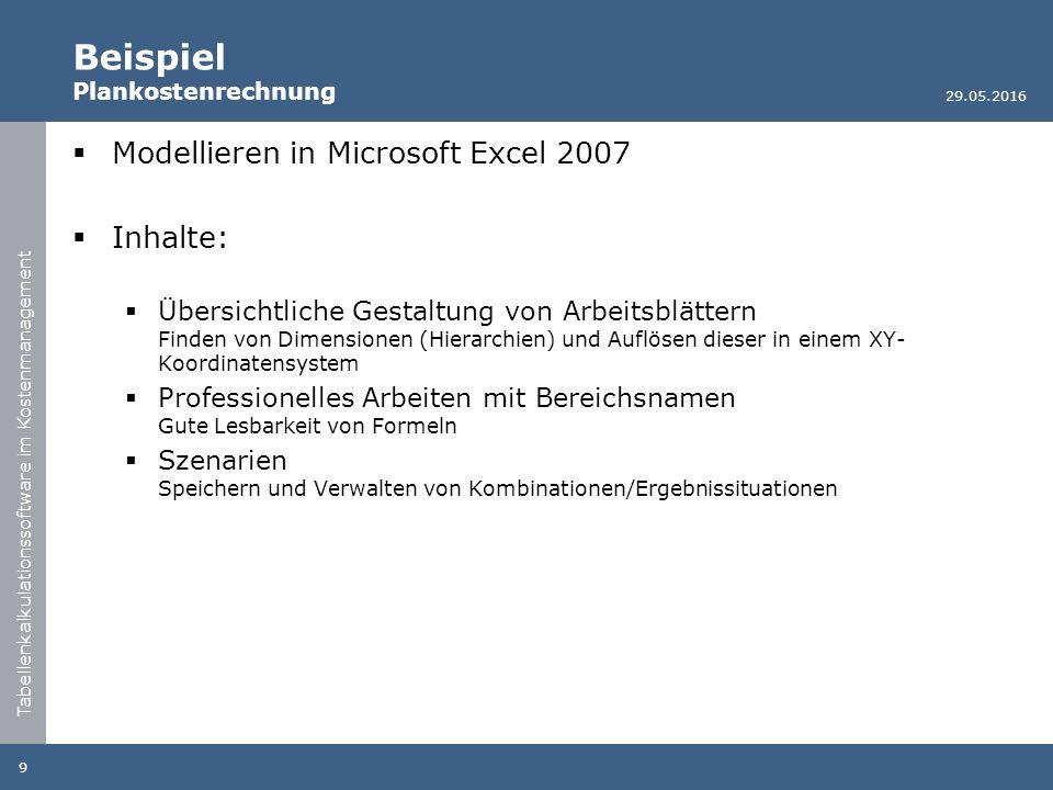 Tabellenkalkulationssoftware im Kostenmanagement Beispiel Plankostenrechnung  Modellieren in Microsoft Excel 2007  Inhalte:  Übersichtliche Gestalt
