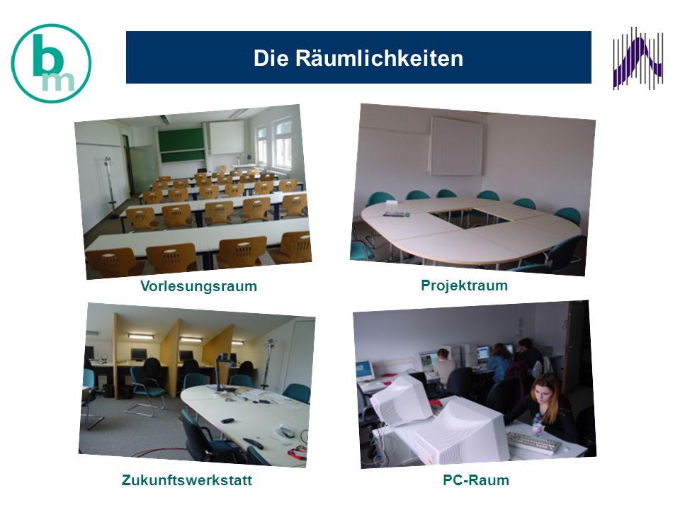 Die Räumlichkeiten Zukunftswerkstatt Projektraum Vorlesungsraum PC-Raum