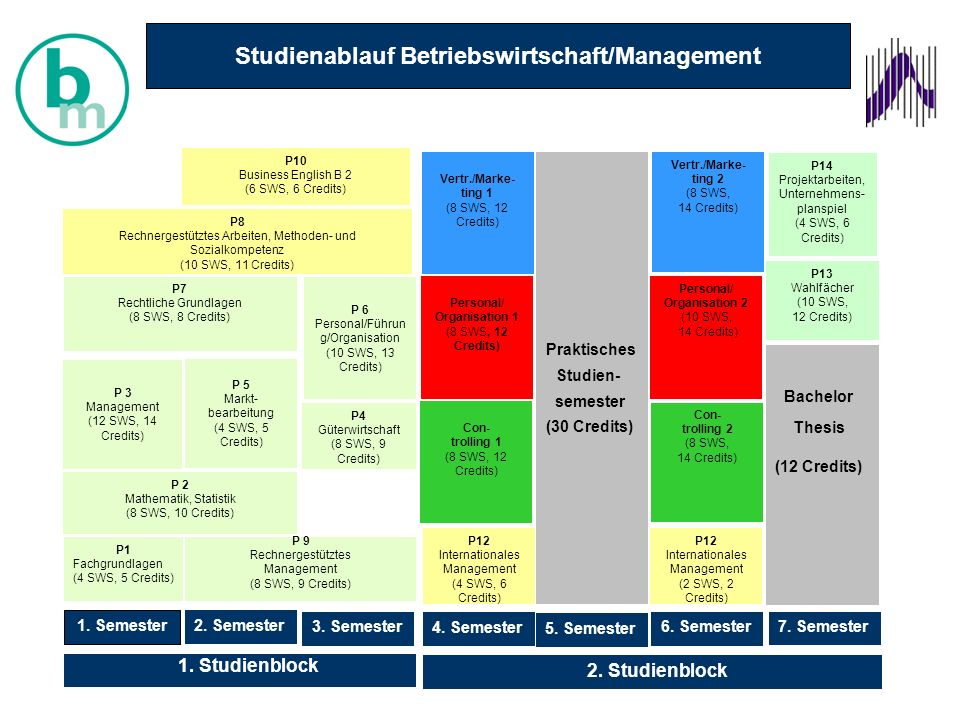 P1 Fachgrundlagen (4 SWS, 5 Credits) 2.