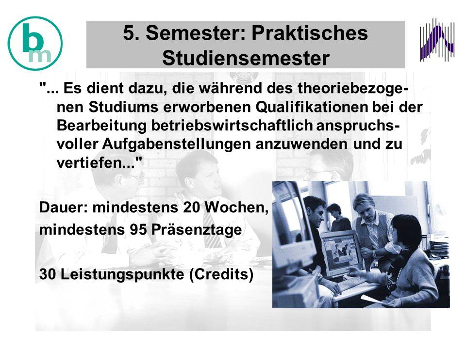 5. Semester: Praktisches Studiensemester ...
