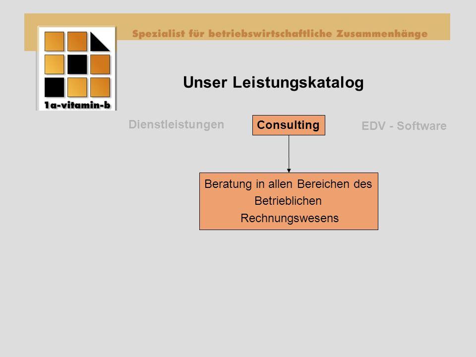 Unser Leistungskatalog Dienstleistungen EDV - Software Consulting Beratung in allen Bereichen des Betrieblichen Rechnungswesens