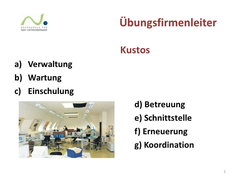 Übungsfirmenleiter Kustos a)Verwaltung b)Wartung c)Einschulung d) Betreuung e) Schnittstelle f) Erneuerung g) Koordination 5