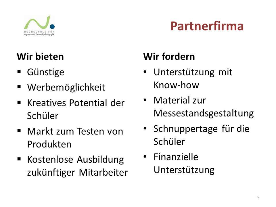 Partnerfirma Wir bieten  Günstige  Werbemöglichkeit  Kreatives Potential der Schüler  Markt zum Testen von Produkten  Kostenlose Ausbildung zukün