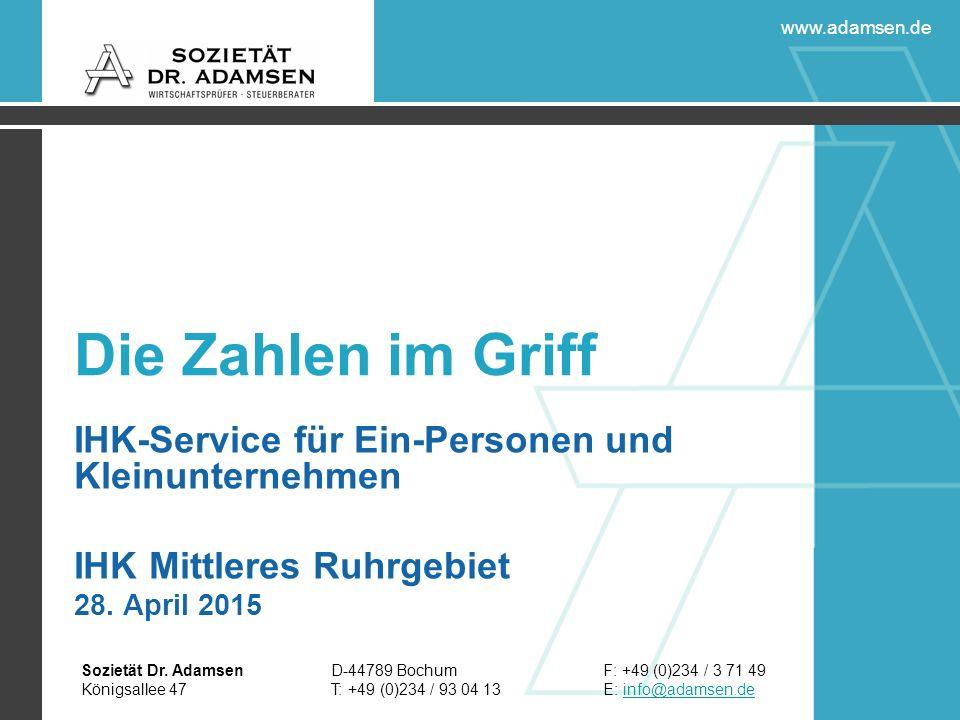 D-44789 Bochum T: +49 (0)234 / 93 04 13 F: +49 (0)234 / 3 71 49 E: info@adamsen.deinfo@adamsen.de Sozietät Dr.