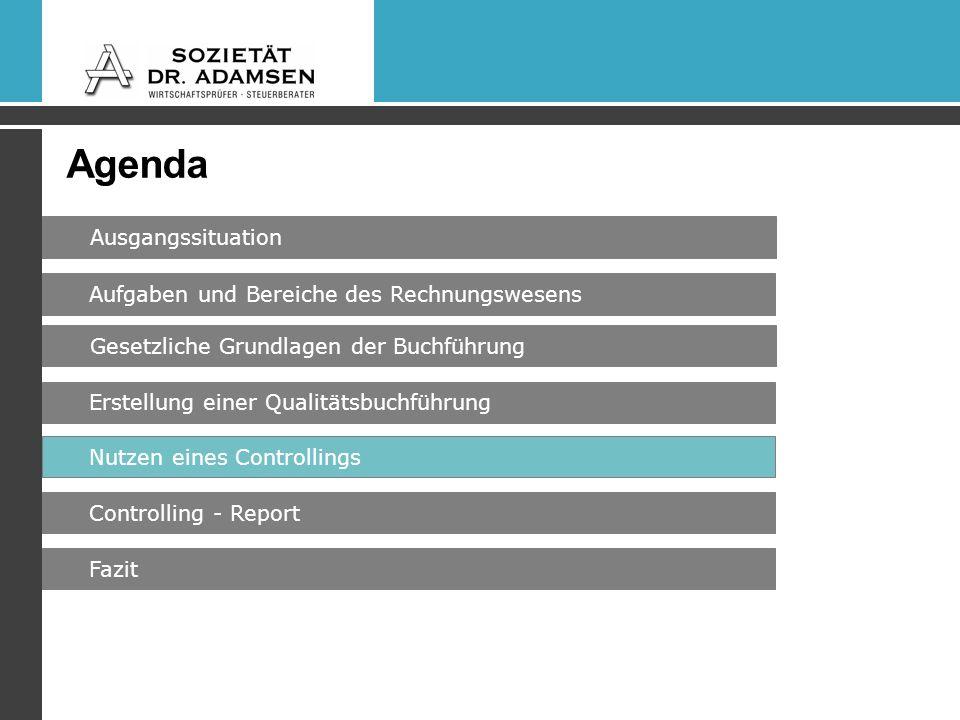 Agenda Ausgangssituation Gesetzliche Grundlagen der Buchführung Erstellung einer Qualitätsbuchführung Fazit Nutzen eines Controllings Controlling - Report Aufgaben und Bereiche des Rechnungswesens