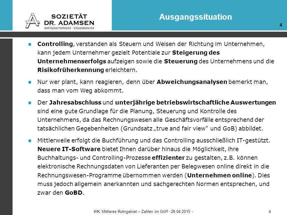Controlling - Report Beispiele IHK Mittleres Ruhrgebiet – Zahlen im Griff - 28.04.2015 - 1 2 35