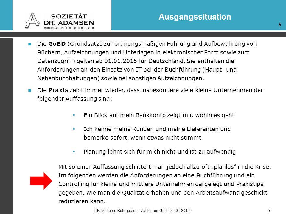 Controlling - Report Beispiele IHK Mittleres Ruhrgebiet – Zahlen im Griff - 28.04.2015 - 1 36