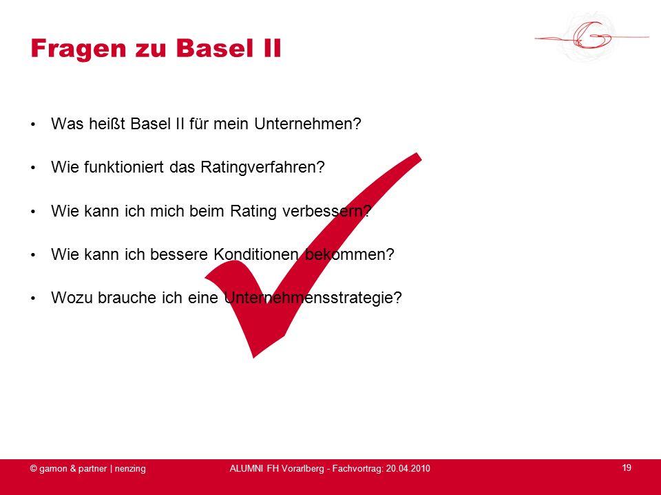 ALUMNI FH Vorarlberg - Fachvortrag: 20.04.2010 Was heißt Basel II für mein Unternehmen.