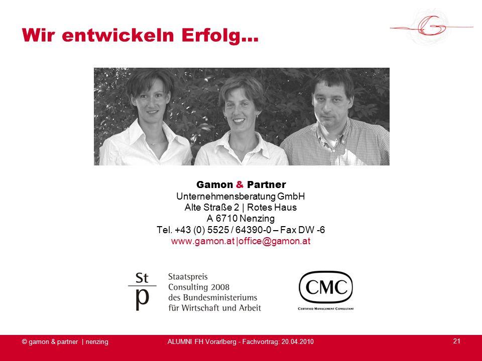 ALUMNI FH Vorarlberg - Fachvortrag: 20.04.2010 © gamon & partner | nenzing 21 Wir entwickeln Erfolg...