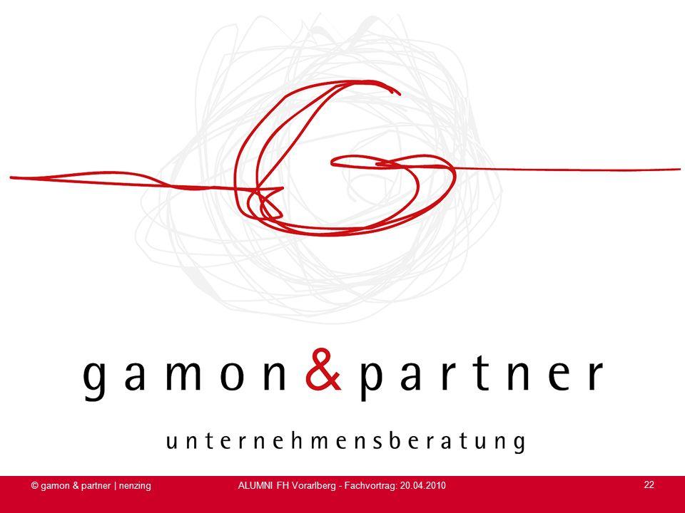 ALUMNI FH Vorarlberg - Fachvortrag: 20.04.2010 © gamon & partner | nenzing 22