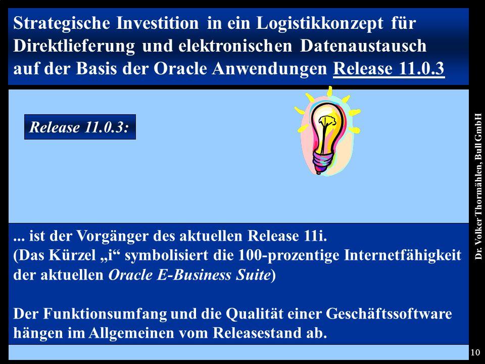 Dr. Volker Thormählen, Bull GmbH 10 Release 11.0.3: Strategische Investition in ein Logistikkonzept für Direktlieferung und elektronischen Datenaustau