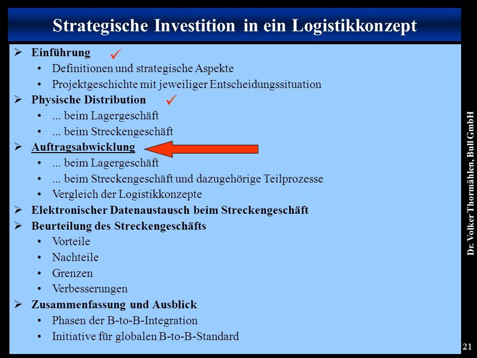 Dr. Volker Thormählen, Bull GmbH 21 Strategische Investition in ein Logistikkonzept  Einführung Definitionen und strategische Aspekte Projektgeschich