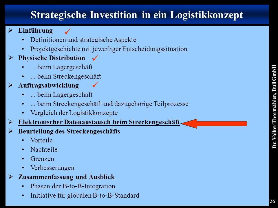 Dr. Volker Thormählen, Bull GmbH 26 Strategische Investition in ein Logistikkonzept  Einführung Definitionen und strategische Aspekte Projektgeschich