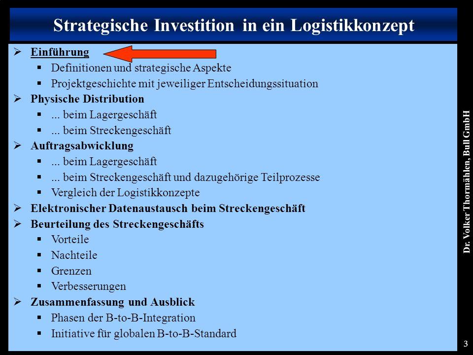 Dr. Volker Thormählen, Bull GmbH 3 Strategische Investition in ein Logistikkonzept  Einführung  Definitionen und strategische Aspekte  Projektgesch