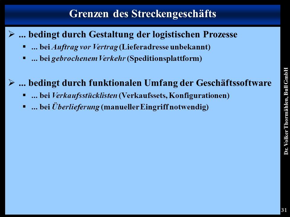 Dr. Volker Thormählen, Bull GmbH 31 ... bedingt durch Gestaltung der logistischen Prozesse ...