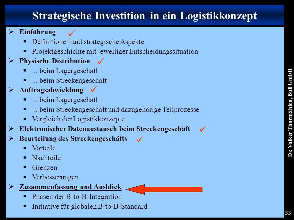 Dr. Volker Thormählen, Bull GmbH 33 Strategische Investition in ein Logistikkonzept  Einführung  Definitionen und strategische Aspekte  Projektgesc