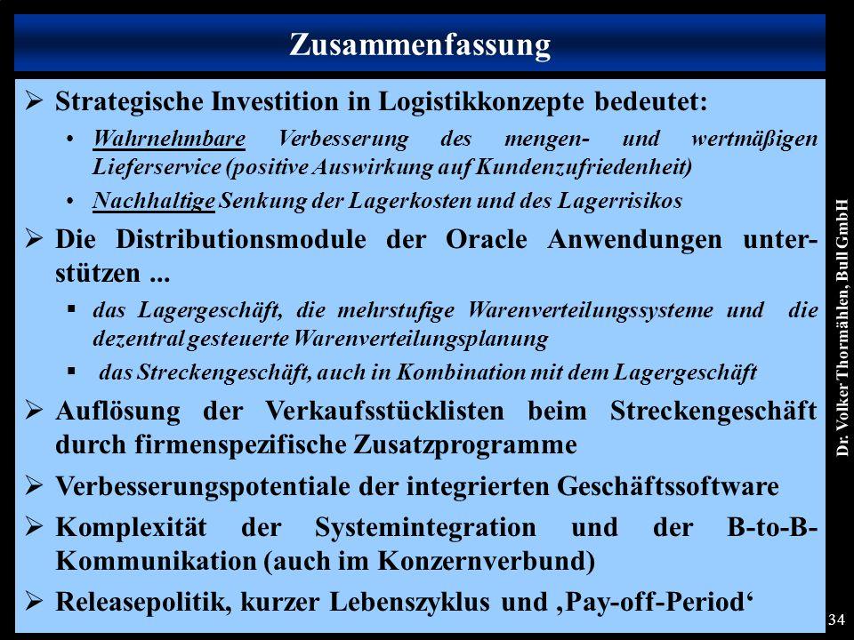 Dr. Volker Thormählen, Bull GmbH 34 Zusammenfassung  Strategische Investition in Logistikkonzepte bedeutet: Wahrnehmbare Verbesserung des mengen- und