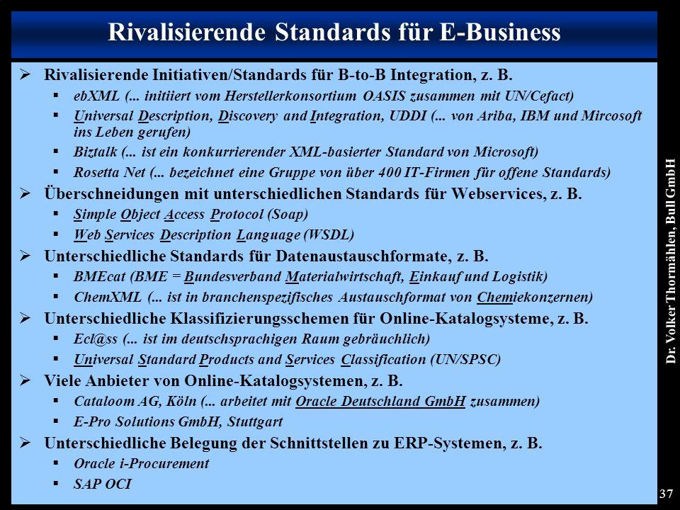 Dr. Volker Thormählen, Bull GmbH 37  Rivalisierende Initiativen/Standards für B-to-B Integration, z. B.  ebXML (... initiiert vom Herstellerkonsorti